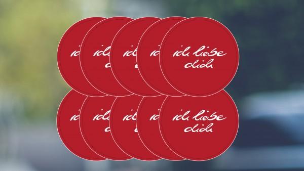 Aufkleber: ichliebedich | (klein) rot (10er Packung)